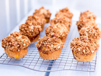 Applesauce Whole Wheat Peachy Pecan Muffins