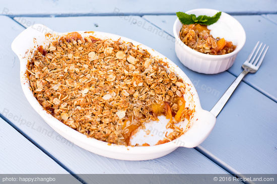 Peach Honey Crisps with Oat, Almond and Coconut Topping Recipe