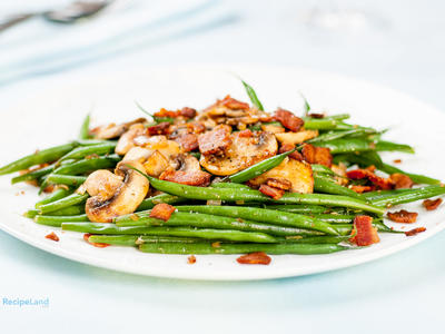 Green Beans and Bacon with Sautéed Mushrooms and Shallots