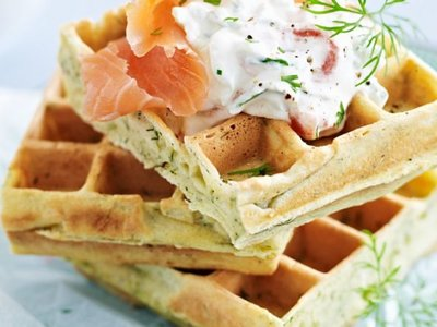 Savory Waffles with Salmon