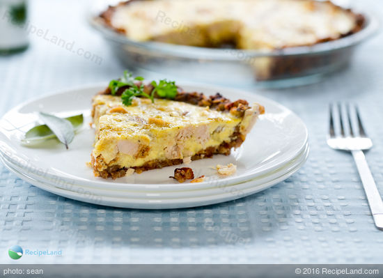 Easy Leftover Stuffing and Turkey Quiche