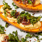 Roasted Sweet Potatoes with Hummus and Crispy Kale