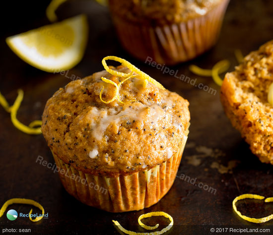 Lemon poppyseed muffins with glaze close-up