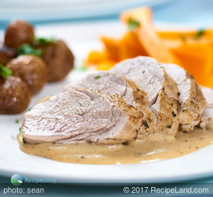 Pork Tenderloin in Thyme White Wine Cream Sauce