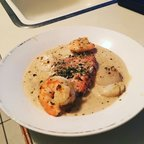 Pesto Salmon and Sea Scallops with Shallot Sauce
