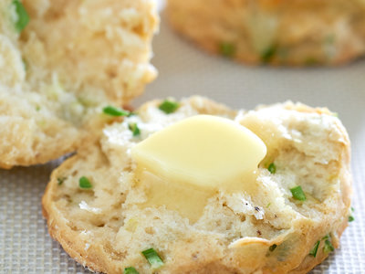 Flaky Garlic Scape Buttermilk Biscuits with Swiss Cheese