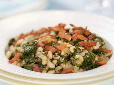 Southern Living Braised Collards with Bacon and Black-Eyed Peas