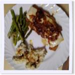 Caramelized Onion Pork Chops with Deep Fried Asparagus and Mashed Potatoes