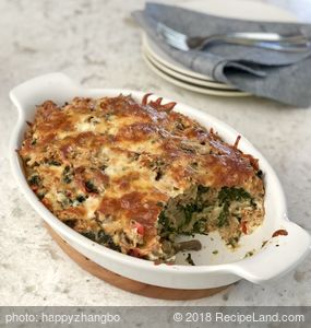Spinach, Mushroom and Vegetable Bread Pudding