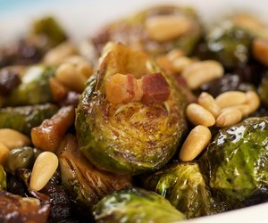 Brussels Sprouts with Pancetta, Pine Nuts and Raisins