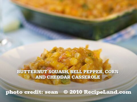 Butternut Squash, Bell Pepper, Corn and Cheddar Casserole