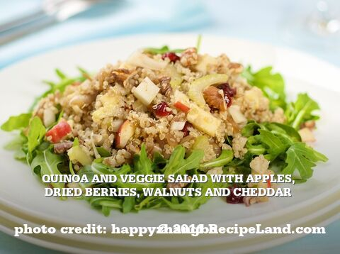 Quinoa and Veggie Salad with Apples, Dried Berries, Walnuts and Cheddar