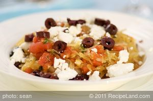 Roasted Spaghetti Squash with Sauteed Vegetables, Feta and Basil