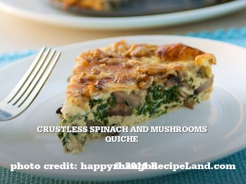 Crustless Spinach and Mushrooms Quiche