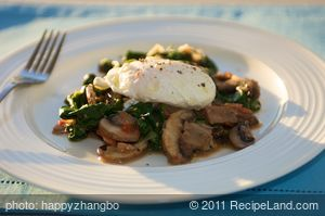 Poached Eggs over Spinach & Mushrooms