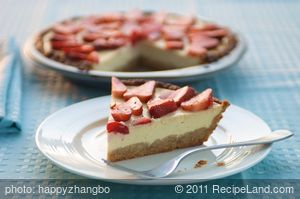 Ricotta and Strawberry Cheese Pie with Almond Crust