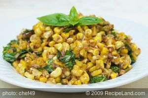 Roasted Corn with Basil Shallot Vinaigrette
