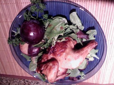 Cornish Hens and Plums on Baby Spinach