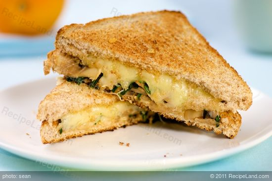 Grilled Cheese Sandwich with Sauteed Mushrooms and Arugula recipe
