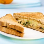 Grilled Cheese Sandwich with Sauteed Mushrooms and Arugula