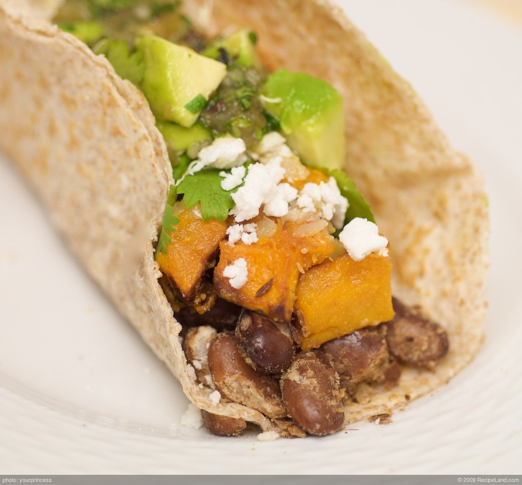 Pinta Bean and Butternut Tacos with Fresh Green Salsa