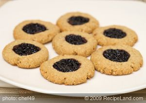 Low-fat Blueberry Chocolate Thumbprint Cookies