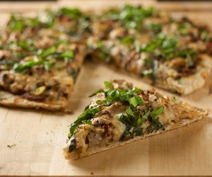 Mushroom Onion and Basil Pizza