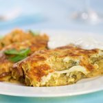 Cheesy Black Bean Enchiladas with Creamy Salsa Verde