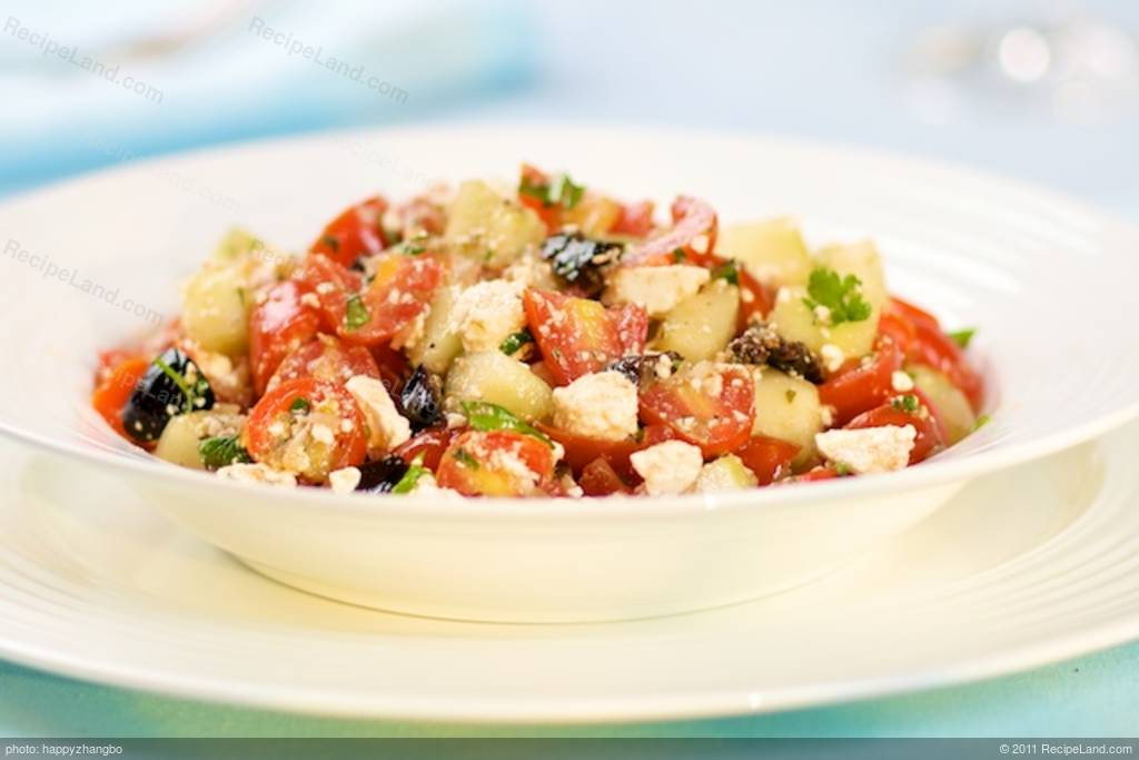 Cherry Tomato, Cucumber, Black Olives and Feta Salad Recipe