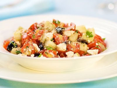 Cherry Tomato, Cucumber, Black Olives and Feta Salad