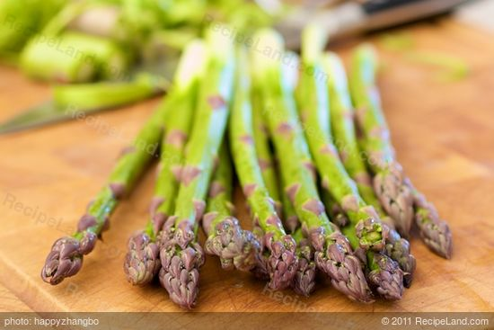 First, get the asparagus prepared.