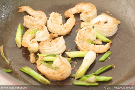 Add another tablespoon of oil to the pan. Add the scallions and stir fry for 30 seconds.