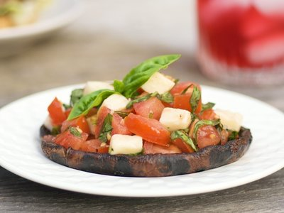 Grilled Portobello Mushrooms with Bruschetta and Mozzarella