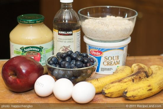Here are all the wet ingredients you need including the soaked oats in the milk.