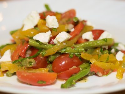 Green Bean, Roasted Pepper, and Cherry Tomato Salad with Goat Cheese