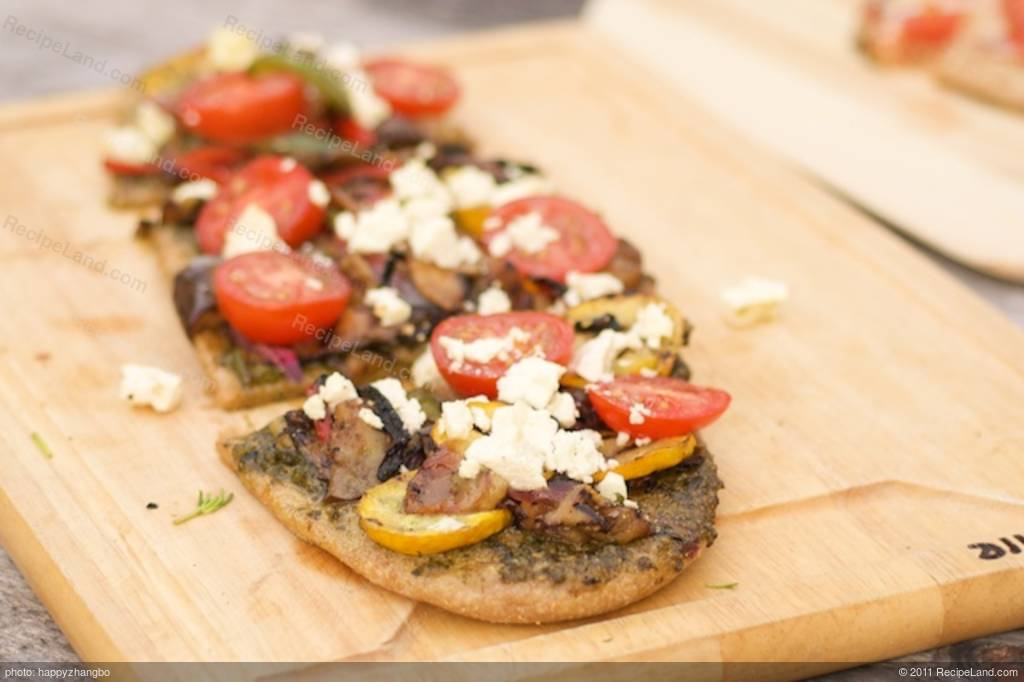 Grilled Summer Vegetable Pizza with Basil Pesto and Feta Recipe