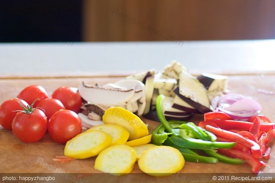 Chop all the vegetables into grill-able size.