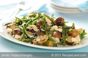 Grilled New Potato and Green Bean Salad with Feta and Olives