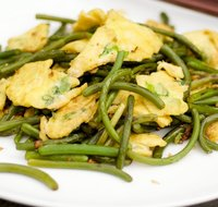 Garlic Scape Stir-fry with Scrambled Eggs