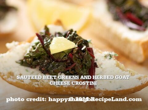 Sauteed Beet Greens and Herbed Goat Cheese Crostini