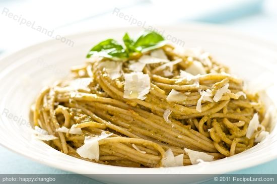 Here we have the pesto pasta on the plate, sprinkle some parmesan on top, and enjoy!