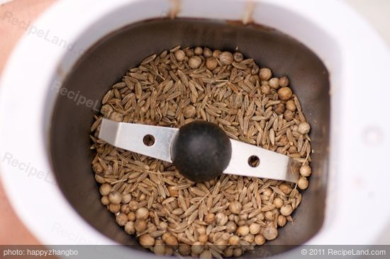 Meanwhile if you are using cumin and coriander seeds, add them into a coffee grinder.