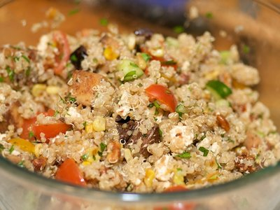 Quinoa, Toasted Corn and Cherry Tomato Salad with Toasted Walnuts and Feta