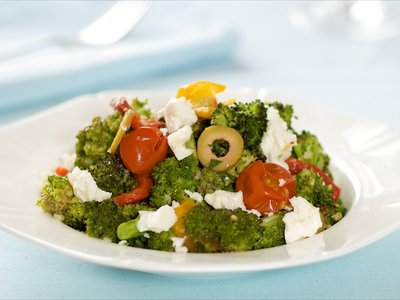 Roasted Broccoli and Cherry Tomatoes with Feta, Roasted Pepper and Olives