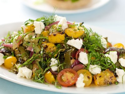 Grilled Summer Vegetable Salad with Cherry Tomatoes and Feta Cheese