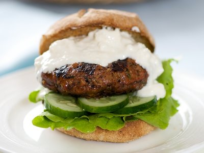 Healthy Hamburger with Savory Feta Sauce and Cucumber