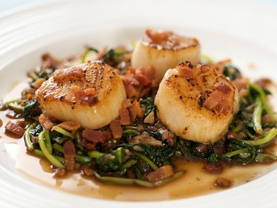 Bacon Scallop with Sauteed Tatsoi