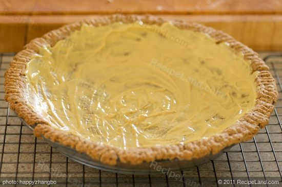 Spread about 1/4 cup mustard evenly over the bottom of cooled crust.