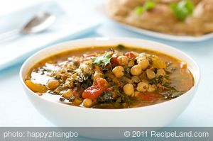 Chickpea, Kale and Tomato Soup with Cilantro