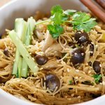 Asian Brown Rice and Mushroom Noodles with Cucumber
